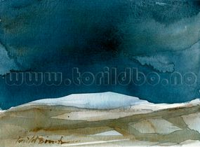 Vinter Fjell Norwegian watercolour akvarell natur montain fjell  landskap winter vinter